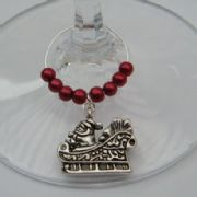 Santa Sleigh Wine Glass Charm - Beaded Style